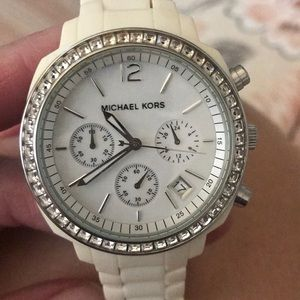 Michael Kors chronograph watch in off white color